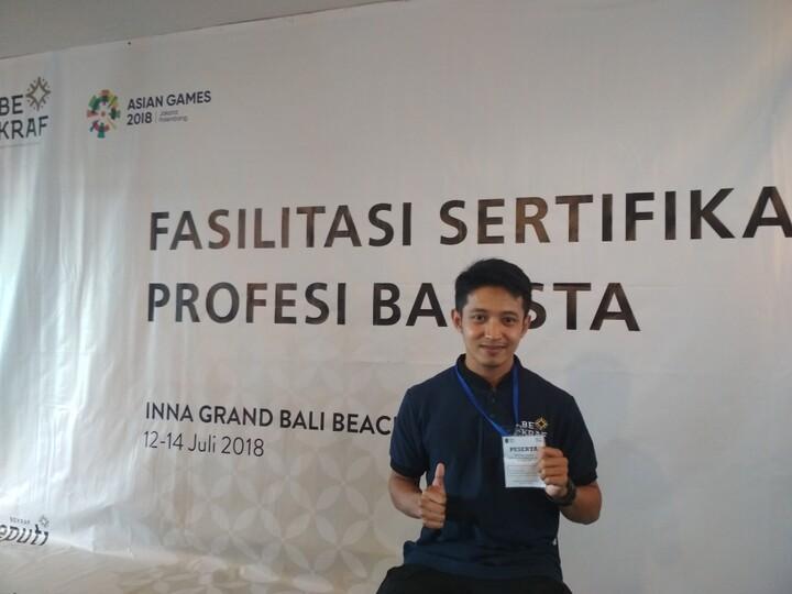 SELAMAT ATAS TERPILIHNYA M. RIDWAN ATAS SERTIFIKASI BARISTA BALI 2018,LSPI DAN BEKRAF