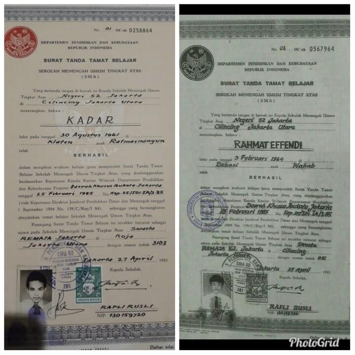 Ini Ijazah Th 1985. Ijazah Asli Ini Benar Keluaran dari Sekolah SMA 52 Jakarta Utara
