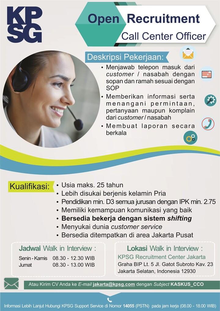 [JAKARTA] Lowongan Kerja sebagai Call Center Officer