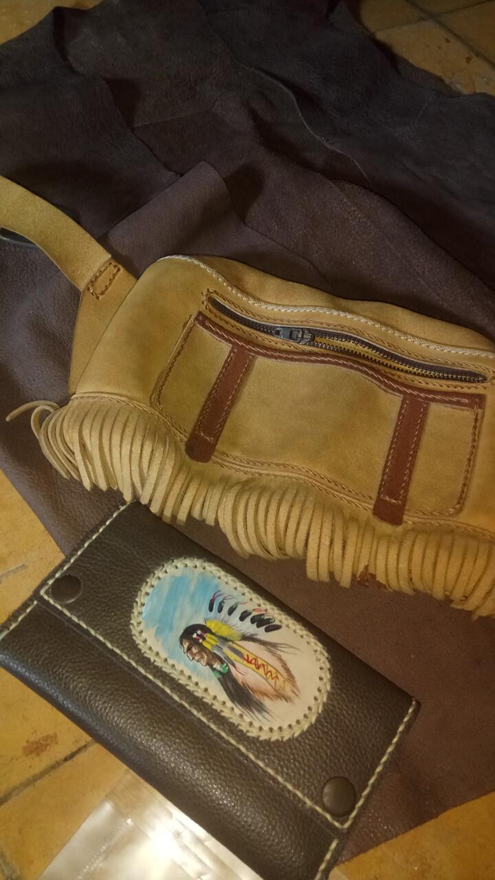 Tas pinggang vintage dompet lukis tangan kulit