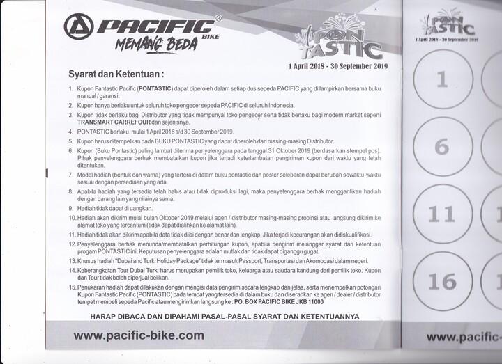 Syarat dan ketentuan untuk hadiah Pacific Sepeda