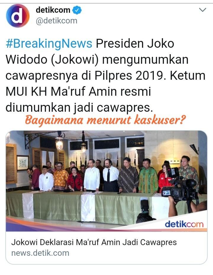 Pilpres 2019 Pilihan Tepat Jokowi dan KH Ma'ruf Amin - Jokomin
