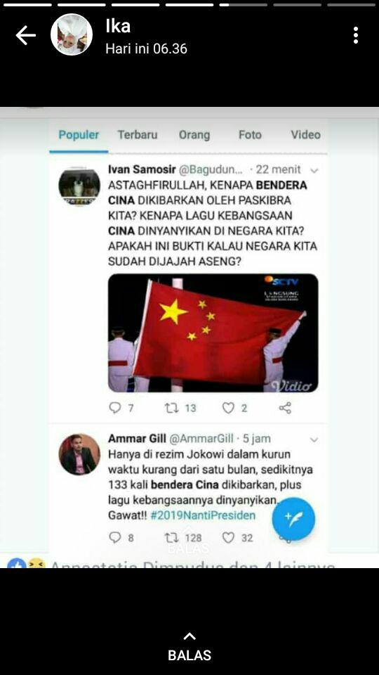 Astagfirullah Bendera Cina dikibarkan di Indonesia