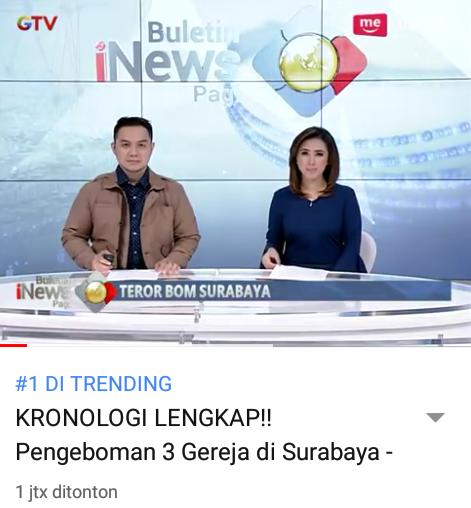 Insiden Bom Bunuh Diri Menjadi Trending No.1 di YouTube