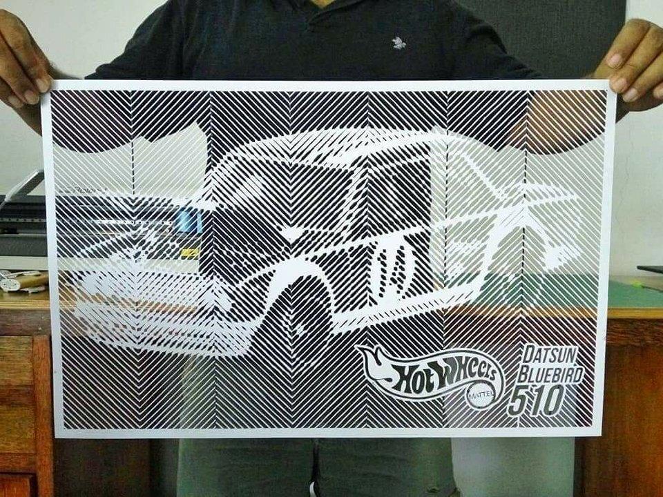 hand cut paper datsun bluebird 510