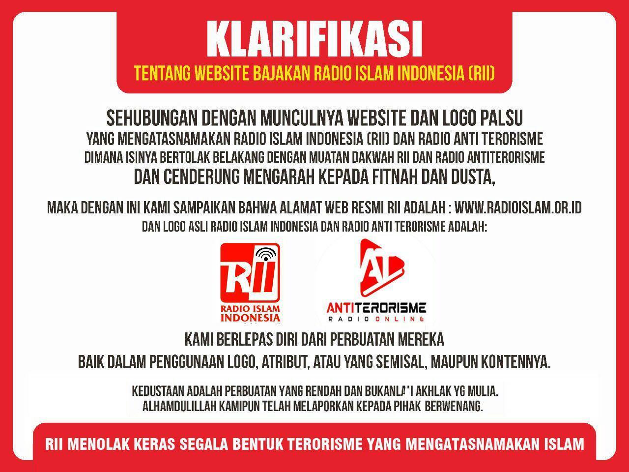 Klarifikasi Website Bajakan Radio Islam Indonesia (RII) Anti Terorisme