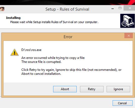 error meng instal Rules Of Survival PC