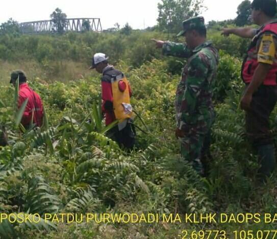 Cegah Karhutla, Tim Posko Tiga Berpatroli di Desa Karang Anyar