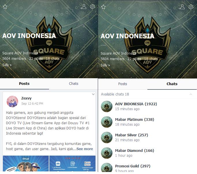 Chat LINE utk para fans AOV