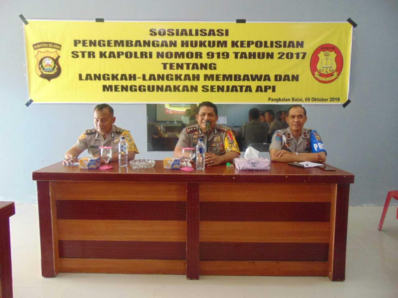 Polres Banyuasin Sosialisasikan Pengembangan Hukum Bagi Seluruh Personil