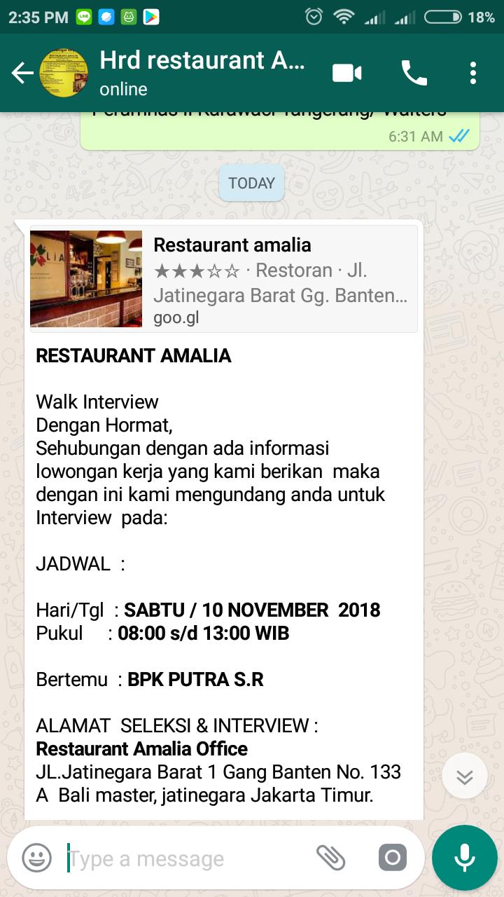 Interview di perusahan restoran amalia
