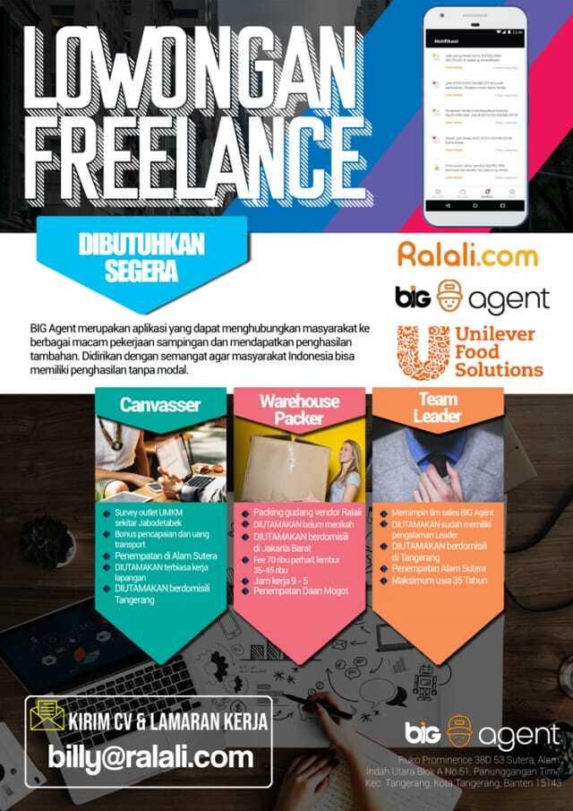 Dibutuhkan Freelance canvaser,warehouse packer,team leader di Ralali.com